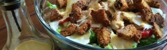 Salmon Caesar Salad w/ Parmesan Croutons