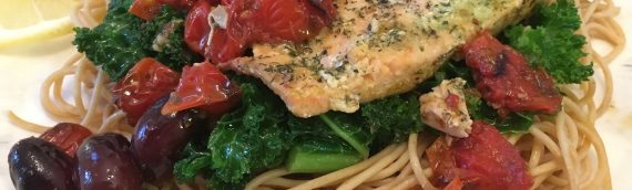 Mediterranean Tips + Pasta w/ Roasted Salmon, Tomatoes and Olives {Recipe}